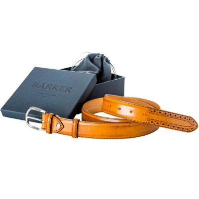 Barker Brogue Belt - Cedar Calf Leather - One size