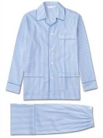 Derek Rose - James Pure Cotton Piped Pyjamas - Blue