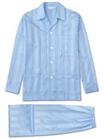 Derek Rose - Lingfield Cotton Satin Stripe Pyjamas - Blue