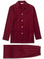 Derek Rose - Lingfield Cotton Satin Stripe Pyjamas - Wine
