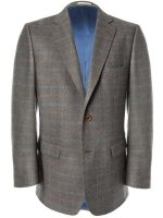 Magee Jacket - Grey Tweed with Rust & Blue Check