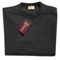 William Lockie - Leven 2 Ply Lambswool Crew Neck - Charcoal