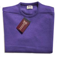 William Lockie - Leven 2 Ply Lambswool Crew Neck - Heliotrope
