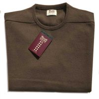 William Lockie - Leven 2 Ply Lambswool Crew Neck - Mocha