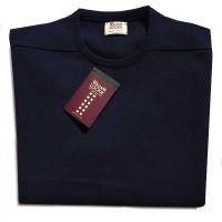 William Lockie - Leven 2 Ply Lambswool Crew Neck - Navy