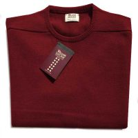 William Lockie - Leven 2 Ply Lambswool Crew Neck - Poppy