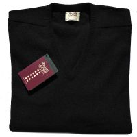 William Lockie - Leven 2 Ply Lambswool V Neck - Black