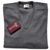William Lockie - Leven 2 Ply Lambswool V Neck - Mid Grey