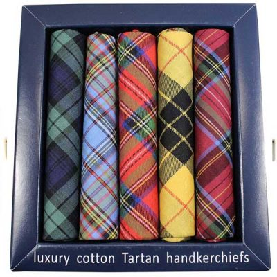 Soprano - 5 Luxury Cotton Hankies Gift Set - Tartan