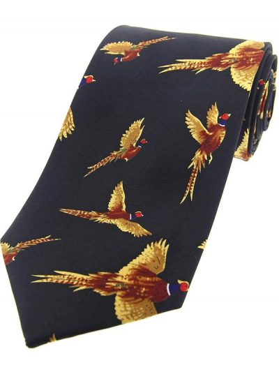 Soprano - Flying Pheasants Silk Country Navy Tie