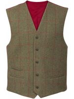 Alan Paine - Compton Lined Back Waistcoat - Sage Green Tweed