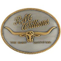 RM Williams - Longhorn Trophy Belt Buckle - Silver & Gold