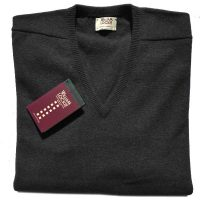 William Lockie - Leven 2 Ply Lambswool V Neck - Charcoal