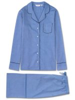 Derek Rose - Ladies Pyjamas Amalfi Pure Cotton - Blue