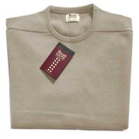 William Lockie - Leven 2 Ply Lambswool Crew Neck - Beige
