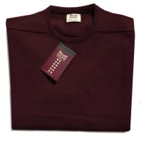 William Lockie - Leven 2 Ply Lambswool Crew Neck - Bordeaux