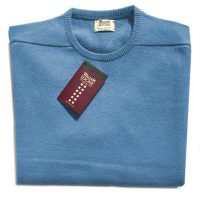 William Lockie - Leven 2 Ply Lambswool Crew Neck - Horizon Blue