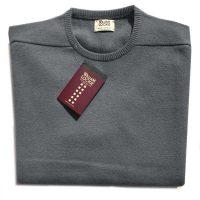 William Lockie - Leven 2 Ply Lambswool Crew Neck - Mid Grey