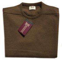 William Lockie - Leven 2 Ply Lambswool Crew Neck - Tobacco