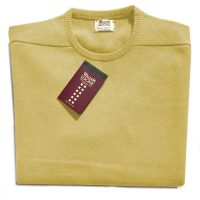 William Lockie - Leven 2 Ply Lambswool Crew Neck - Yellow