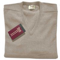 William Lockie - Leven 2 Ply Lambswool V Neck - Beige