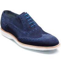 Barker Shoes - Avenger White Sole Brogue - Navy Suede