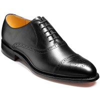 Barker Shoes - Devon - Oxford Semi Brogue - Black Calf