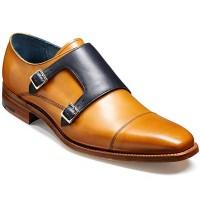 Barker Shoes - Hillman Monk Strap - Cedar & Blue Calf