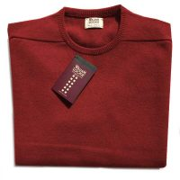 William Lockie - Leven 2 Ply Lambswool Crew Neck - Chianti