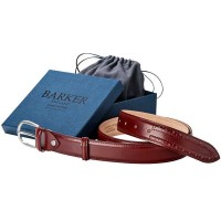 Barker Brogue Belt - Cherry Calf - Star Punch