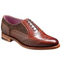Barker Ladies Shoes – Freya Brogue – Walnut & Brown Tweed