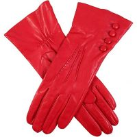 Dents Ladies - Rose Silk Lined Leather Gloves - Berry