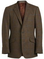 Magee Tweed Jacket - Brown Herringbone With Navy and Blue Over-check.