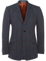 Magee Jacket - Blue Herringbone Tweed with Over-Check