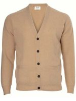 William Lockie - Leven 2 Ply Lambswool Cardigan - Camel