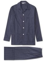 Derek Rose - Braemar 32 Pure Brushed Cotton Check Navy