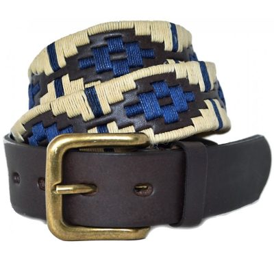 Pioneros - Argentinian Polo Belt in Beige/Navy with Navy Stripe