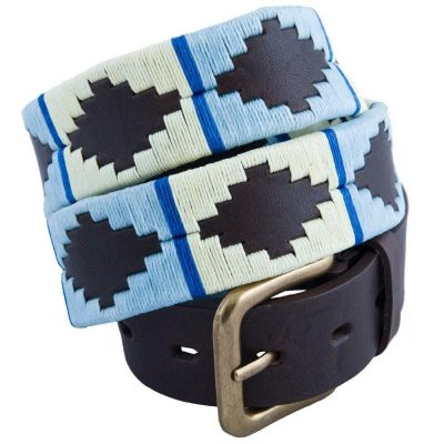 Pioneros - Argentinian Polo Belt in Blue/White with Blue Stripe