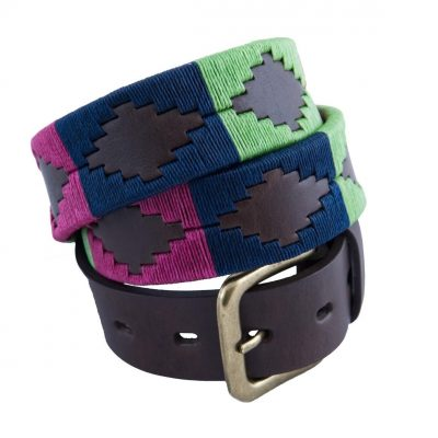 Pioneros - Argentinian Polo Belt in Berry/Navy/Green