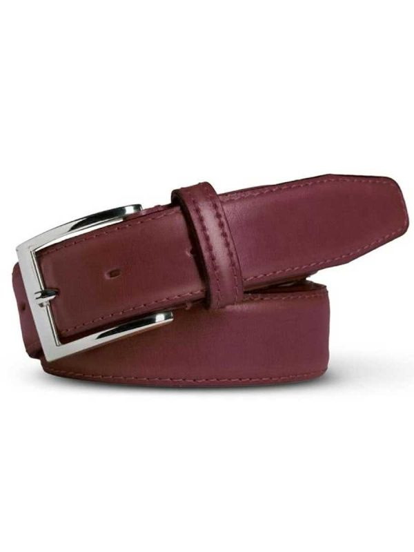 Meyer Stretch Leather Belt - Bordeaux