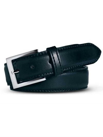 Meyer Stretch Leather Belt - Navy