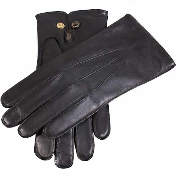 Dents Men's Gloves - Mendip Leather & Wool Lined - Black