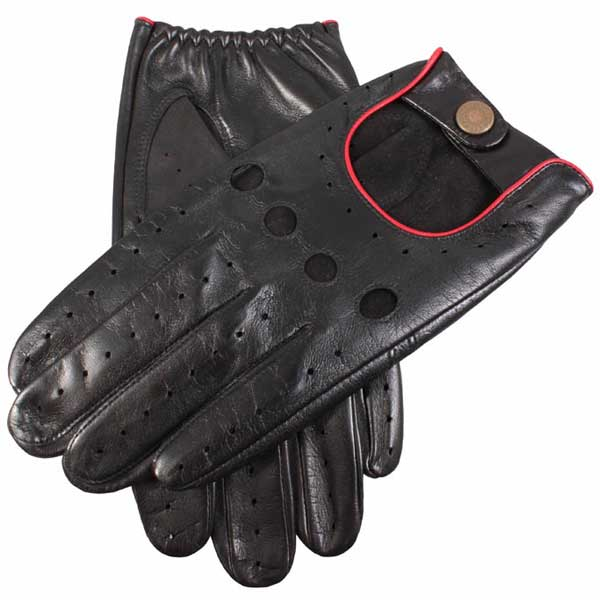 Dents Delta Men's Leather Driving Gloves - Black & Red