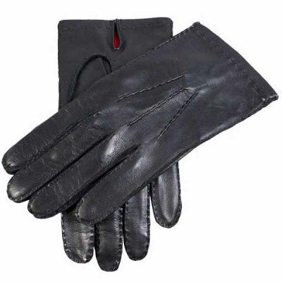 Dents Kingston Men's Leather Gloves - Red Silk Lined - Black