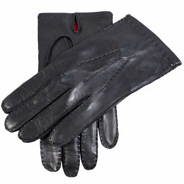 Dents Kingston Men's Leather Gloves - Red Silk Lined - Black