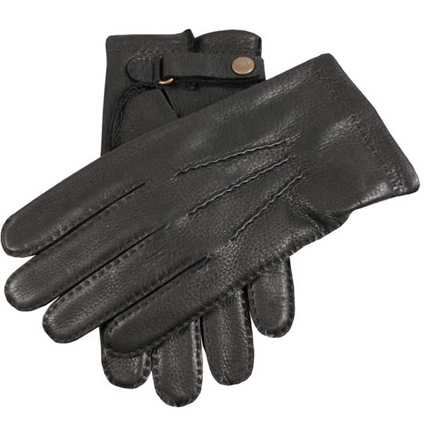 Dents Canterbury Men's Cashmere Lined Leather Gloves - Black