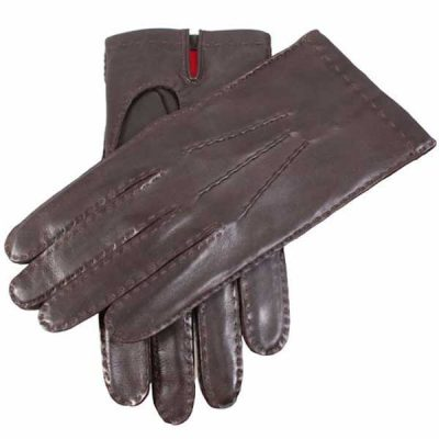 Dents Kingston Men's Leather Gloves - Silk Lined - Brown
