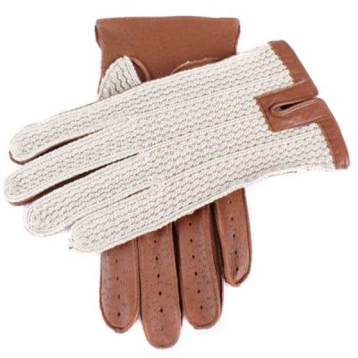Dents Lancaster Men's Driving Gloves Cognac Leather & Crochet Backed