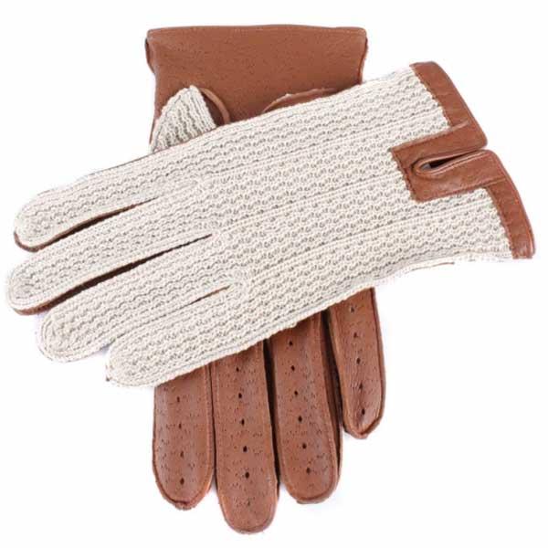 Dents Lancaster Men's Driving Gloves Cognac Leather & Crochet Backed