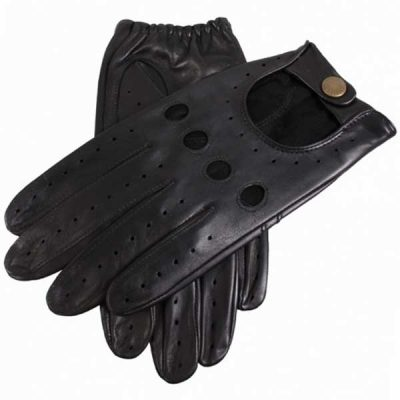 Dents Delta Men's Hairsheep Leather Driving Gloves - Black